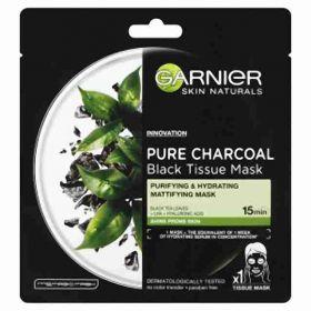 Garnier PureCharcoal textilní pleťová maska z černého čaje pro zmatnění pleti 32g