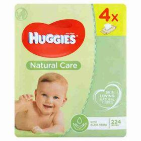 Huggies Wipes quad Natural s aloe 4x 56ks