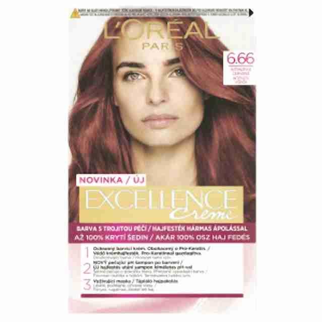 L'oreal Paris excellence barva na vlasy 6.66 intenzivně červená
