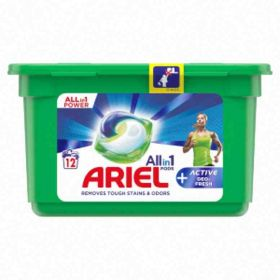 Ariel kapsle na praní All in 1 Pods Active Deo-Fresh bílé 12ks